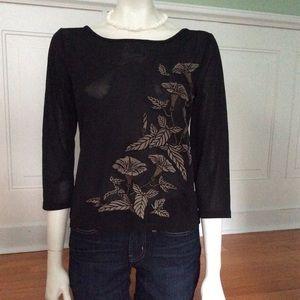 Long sleeved semi sheer pullover black